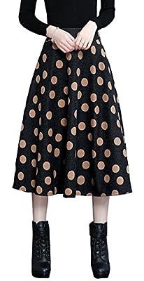 Vocni Women Plaid A-Line Flared Winter Vintage Lined Zipper Wool Blend Long Skirt