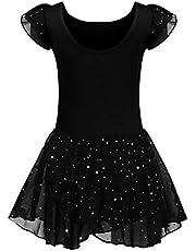 trudge Balletkleding voor kinderen, balletjurk voor meisjes, korte mouwen, katoen, balletpak, dansjurk, dansbody met rok, tutu