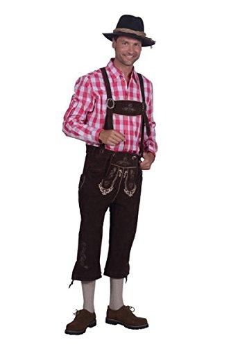 Brezel Trachtenmode - dunkelbraune Kniebund-Lederhose für Herren aus echtem Veloursleder