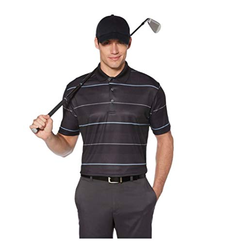 (Grand Slam DriFlow Classic Fit Striped Performance Golf Polo, Size Large )
