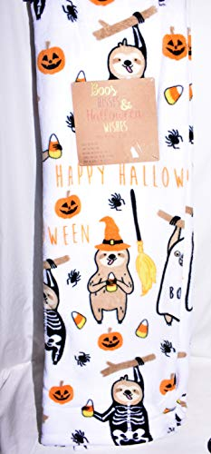 New Halloween Animals Dressed up in Costumes with Witches Brooms, Spiders, Pumpkins & Candy Corn on a White Velvet Plush Oversized Throw Blanket 50