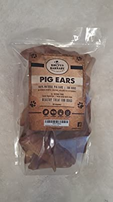 100% Natural Whole Pig Ear Dog Treat, Brutus & Barnaby's Healthy, Pure Pork Ear is Easily Digestible with no Added Colorings, Chemicals or Hormones from Brutus & Barnaby