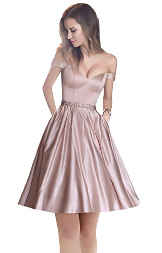 5ab5487c3f Harsuccting Off The Shoulder Beaded Satin Short Cocktail Homecoming Dress  With Pocket Blush Pink 4