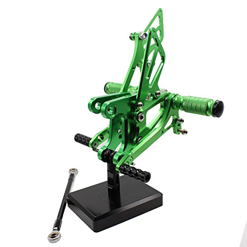 FXCNC ZX6R Motorcycle Rearsets Rear Foot Pegs CNC Rear set Footrests Fully Adjustable Rear Foot Boards Fit for KAWASAKI Ninja ZX6R ZX636 2005-2008 Green color tree