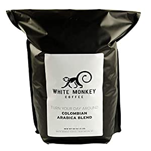 White Monkey 5LB Gourmet Bulk Coffee House Blend | Colombian Peruvian Beans | 100% Arabica | Medium Roast | Kosher | Whole Bean Coffee, 5 Pound (5 lb) Bag by White Monkey Coffee