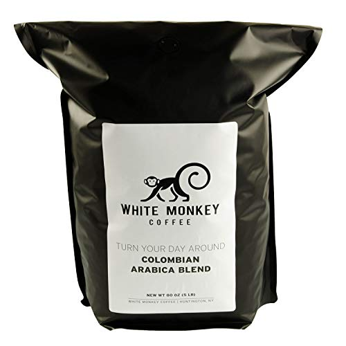 White Monkey 5LB Gourmet Bulk Coffee House Blend | Colombian Peruvian Beans | 100% Arabica | Medium Roast | Kosher | Whole Bean Coffee, 5 Pound (5 lb) Bag