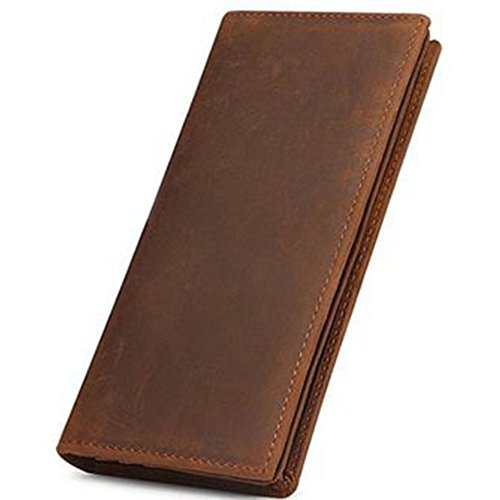 Wallet Purse MultiCard Purse Business Vintage Mens Leather Brown Men's Bifold Genuine Long 6HUxOw8