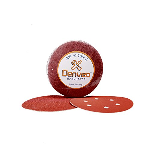 Denveo Dry Sanding Disc 60/80/120/180/240/320 Grit 5 Inch and Sandpaper Assortment, Hook and Loop System Red Paint and Steel Sanding for Random Orbital Sander, Pack of 60 (8 Holes) by Denveo (Image #1)