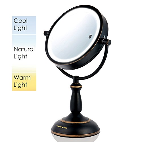 Ovente Dual-Sided LED Lighted Makeup Mirror with Timer, 8.5 Inch, Battery or Cord Operated, SmartTouch with 3 Light Tones (Cool, Warm, Natural), 1x/10x Magnification, Oil-Rubbed Bronze (MPT85BZ1x10x)