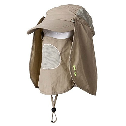 Towallmark UV 50+ Protection Outdoor Multifunctional Flap Cap with Removable Sun Shield and Mask Perfect for Fishing, Hiking, Garden Work Outdoor Activities, (Shield Cap)