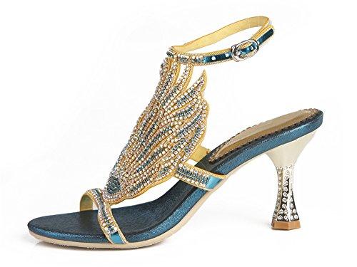 Fiesta Señoras Noche Mujer a Sandalias NVXIE Hecho Tacón Medio Paseo Boda Mano Strappy Diamante Blue Nupcial xTw0Tqd