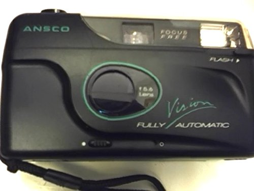 Color Ansco Film (Ansco Vision 35mm Film Camera w/ F=5.6 Lens w/ Auto Load, Motor Advance & Rewind, Flash, Focus Free, Fully Automatic (Black Color Version with Green & White Lettering))