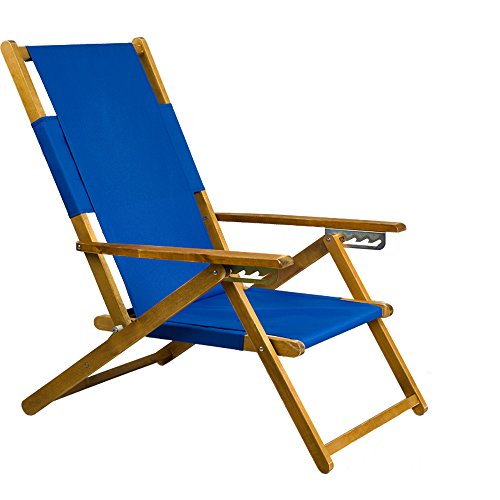 APEX LIVING Patio Portable Wooden Beach Folding Chair Adjustable Chaise Lounge Blue
