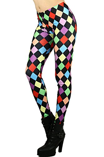 World of Leggings Rainbow Jester Checkered Leggings Small