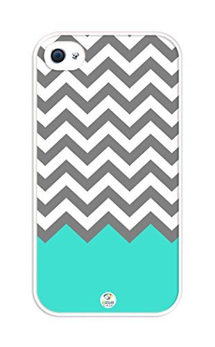iZERCASE Chevron Pattern Turquoise White Gray RUBBER iphone 4, iphone 4S case - Fits iphone 4/4S T-Mobile, AT&T, Sprint, Verizon and International (Turquoise Chevron Iphone 4 Case)