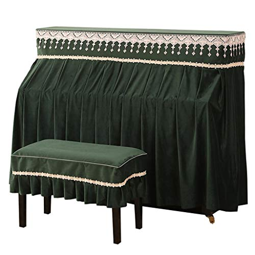 Piano Dust Cover, Half Cover Cloth Thick Velvet Breathable Dustproof Machine Washable Lint Opening Curtain Design (Color : Green-153x34x120cm+78x38cm)