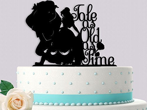 Beauty And The Beast Wedding Cake.Beauty And Her Beast Tale As Old As Time On Side Wedding Cake Topper