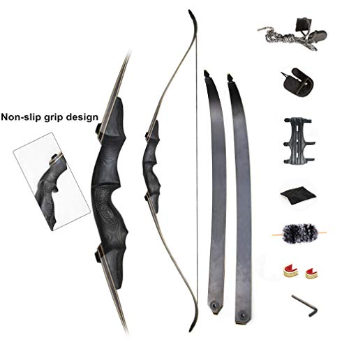 (Tophunter Takedown Recurve Bow Kit Archery 60 inch Adult Youth Longbow Wooden Riser Laminated Fiberglass Limbs Right Handed for Hunting Practice Target Competition Athletic (55))