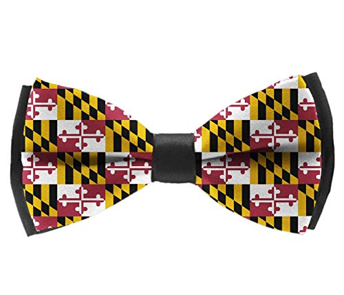 COLORFULSKY Men's Pre Tied Bow Ties for Wedding Party Maryland State Flag Adjustable Bowties -
