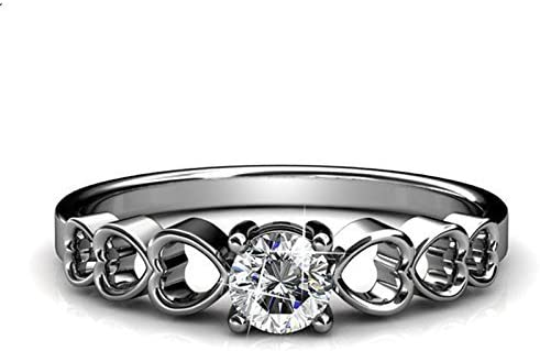 GS /& CO 0.90ct white round Unique heart design 925 Sterling Silver engagement /& wedding ring