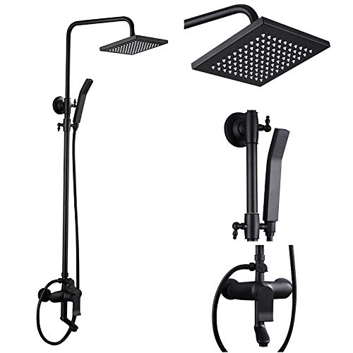 JinYuZe Classic Exposed Shower System Square Rainfall Handheld Shower Head Set with Tub Spout,Matte Black