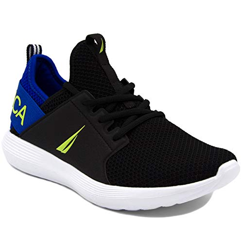Nautica Men's Casual Fashion Sneakers-Walking Shoes-Lightweight Joggers-Rainey-Black/Lime-10