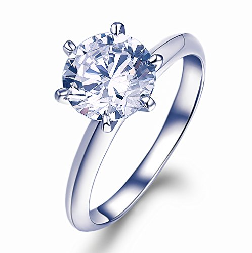d Plated 925 Sterling Silver Engagement Ring Round Cut CZ Simulated Diamond 6 Paws (8, cubic-zirconia) (14k Simulated Diamond Engagement Ring)