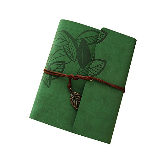 Scrapbook Album,Leather Leaf Pattern Vintage Photo Album Family DIY Memory Retro Photo Book Guestbook for Anniversary Mother Birthday Valentine 60 Pages(Green) Leather Scrapbook Album