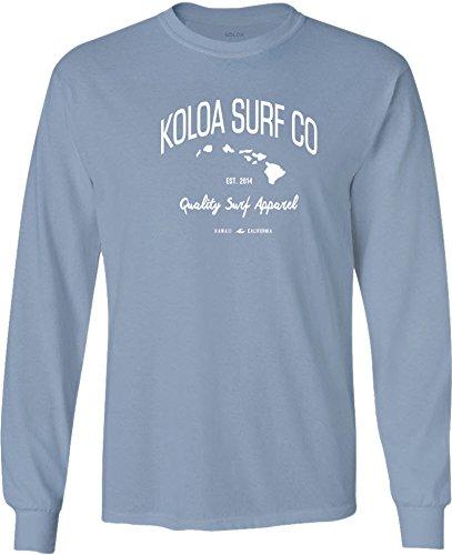 (Joe's USA Koloa Surf(tm) Long Sleeve Islands Logo Heavy Cotton T-Shirt-StoneBlue/w-S)