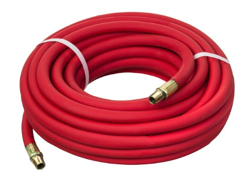 Red Pvc Air Hose Assembly (Kuriyama Kuri Tec HS1234  Series High Grade Low Temperature Air Hose Assembly with Rubber Bend Restrictors, 300 psi, 25' Length x 1/2