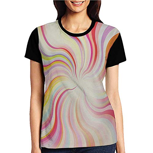 Sunburst Short Sleeve Top - Girls Short Sleeve Tops,Pastel,Abstract Sunburst Design Wavy Lines Sixties Seventies Style Psychedelic Retro Rays,Multicolor S-XXL O Neck T Shirt Female Tee