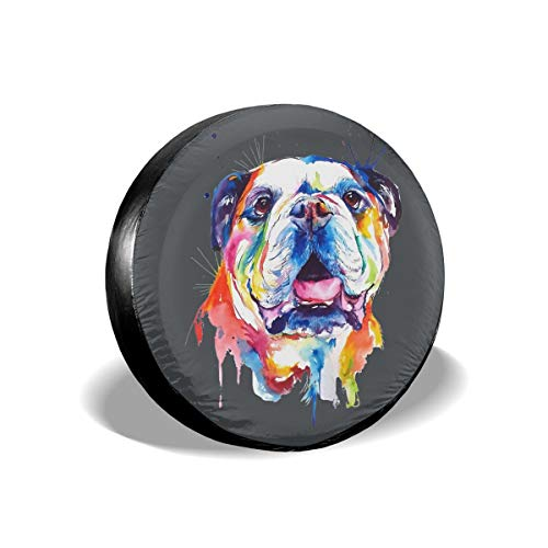 Hanging Decorations Watercolor Dog Waterproof Dust-Proof Seasonal Tire Tote & Wheel Felts Spare Tire Cover Fit for Jeep,Trailer, RV, SUV and Many Vehicle 14