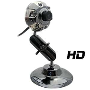 Kinobo USB B3 HD Webcam con Soporte de Metal para Xp/Vista/Windows 7/Skype + Mic USB & luces LED