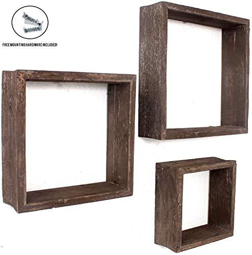 (BarnwoodUSA Rustic Shelves, Square Floating Wood Shadowbox, Home Decor, Set of 3 (Espresso))