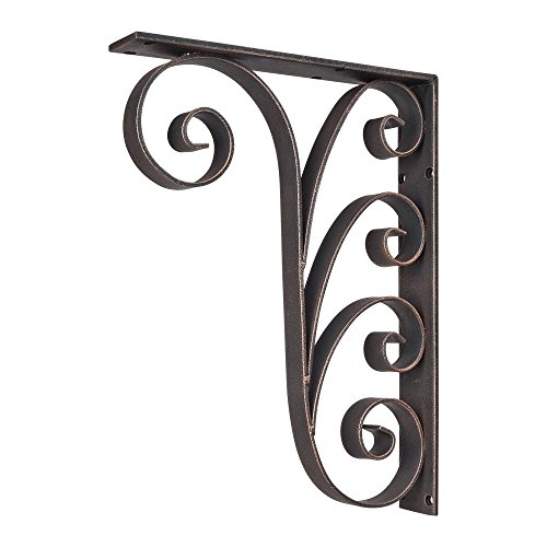 Home Decor MCOR6-DBAC Metal (Iron) Waved Bar Bracket - Dark Brushed Antique Copper by Hardware Resources