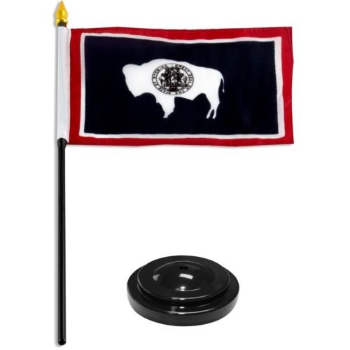 Wyoming State Flag 4''x6'' Desk Set Table Stick Black Base BEST Garden Outdor Decor polyester material FLAG PREMIUM Vivid Color and UV Fade Resistant by Moon