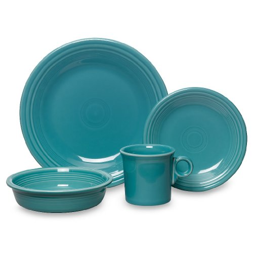 Fiesta 16-Piece, Service for 4 Dinnerware Set, Turquoise by Homer Laughlin (Image #1)
