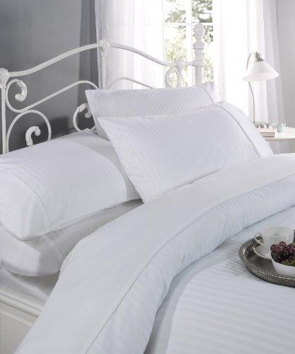 Ritz Satin Stripe Cotton Rich 300 Thread Count Duvet Cover Set, King Size, White by Dorchester by Dorchester