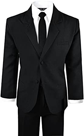 Amazon.com: Black N Bianco Boys' Formal Black Suit with Shirt and ...
