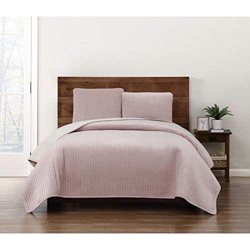 HNU 2 Piece Modern Crystal Face Pick Stitch Velvet Quilt Set Designer Style Solid Color Pattern Plush Pink Twin Bedding Set Outstanding Warmth Fashionable Bedroom Decor Amazingly Soft Pleated Finish