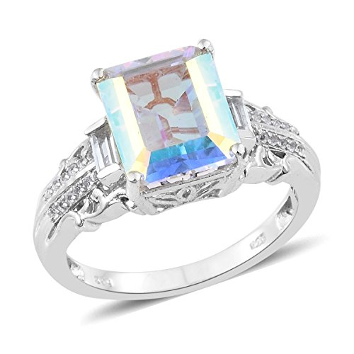 925 Sterling Silver Platinum Plated 7.1 Cttw Octagon Mercury Mystic Coated Topaz, White Topaz Ring Size - Platinum Mystic Topaz