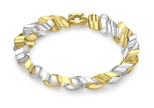 Or 9 ct Bicolore Plat Rolo Link Barcelet 19 cm/7.5 '