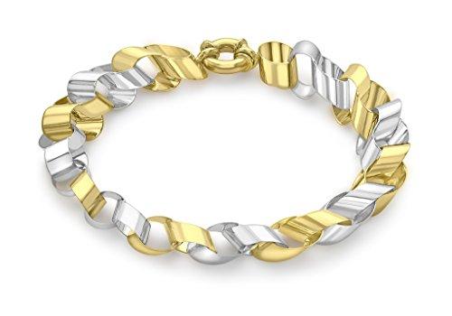 Or 9ct Bicolore Plat Rolo Link Barcelet 19cm/7.5'
