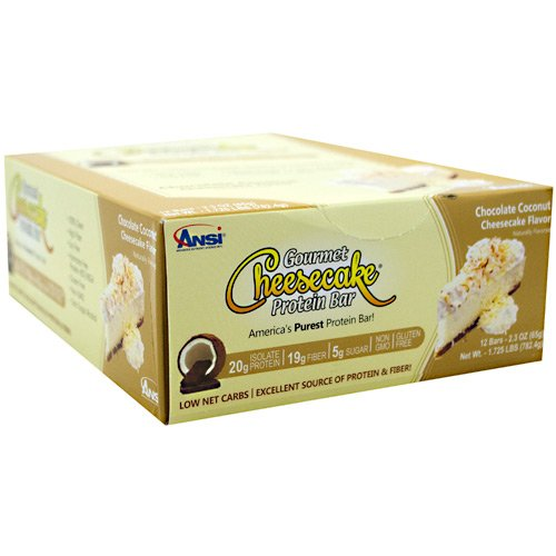 Advanced Nutrient Science INTL Gourmet Cheesecake Protein Bar - Chocolate Coconut Cheesecake - 12- 2.3 oz bars