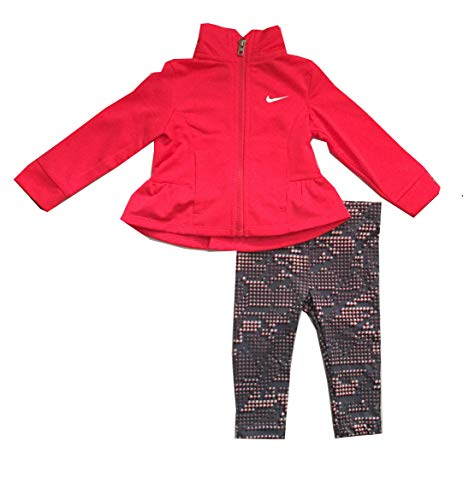 (Nike Infant Girls 2 Piece Jacket and Pants Set Pink/Cool Gray Size 24 Months)