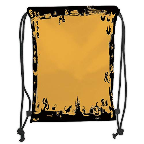 Custom Printed Drawstring Sack Backpacks Bags,Halloween,Black Framework Borders with Halloween Icons Cats Bats Skulls Ghosts Spiders Decorative,Yellow Black Soft Satin,5 Liter Capacity,Adjustable Stri -