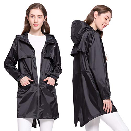 NICEWIN-Womens-Portable-Raincoats-Waterproof-Lightweight-Hooded-Trench-Coat-Winter-Jacket-Double-Zipper-Seam-Coating-Black-M