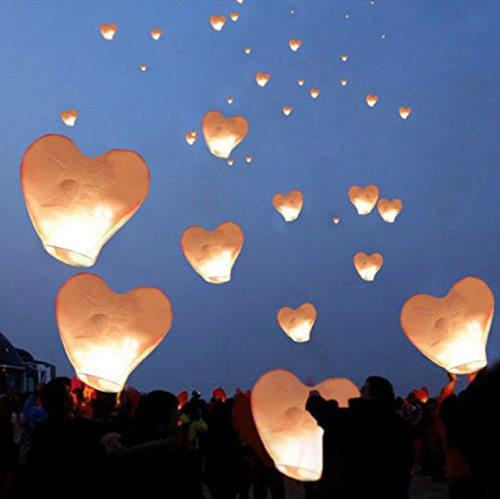 20 White Heart Paper Lanterns Floating sky Balloon Fly Candle Lamps Birthday Party Wedding Hot Kit