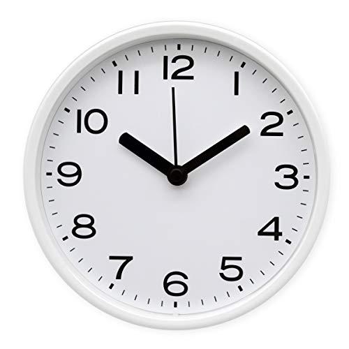 COMODO CASA Wall & Desk Clock- Metal Frame-Glass Cover-Non Ticking-Quartz Sweep-Silent 6 inch Black & White Clock (White)