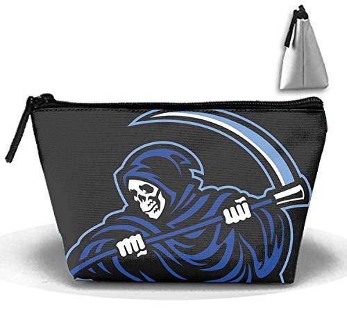 jiajufushi Trapezoidal Strorege Bag Skull Grim Reaper Sickle Makeup Pouch Durable Travel Bag with Zipper